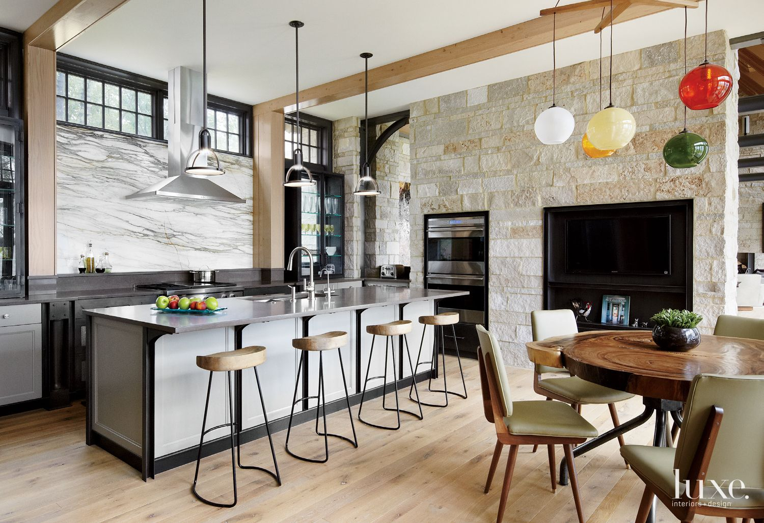 Contemporary Neutral Kitchen with Rustic Stone Feature Wall