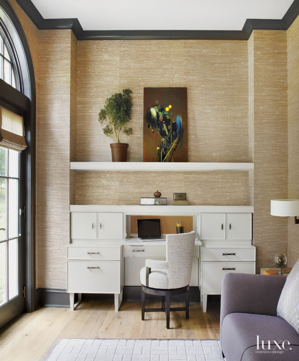 Contemporary Neutral Study with Custom Desk