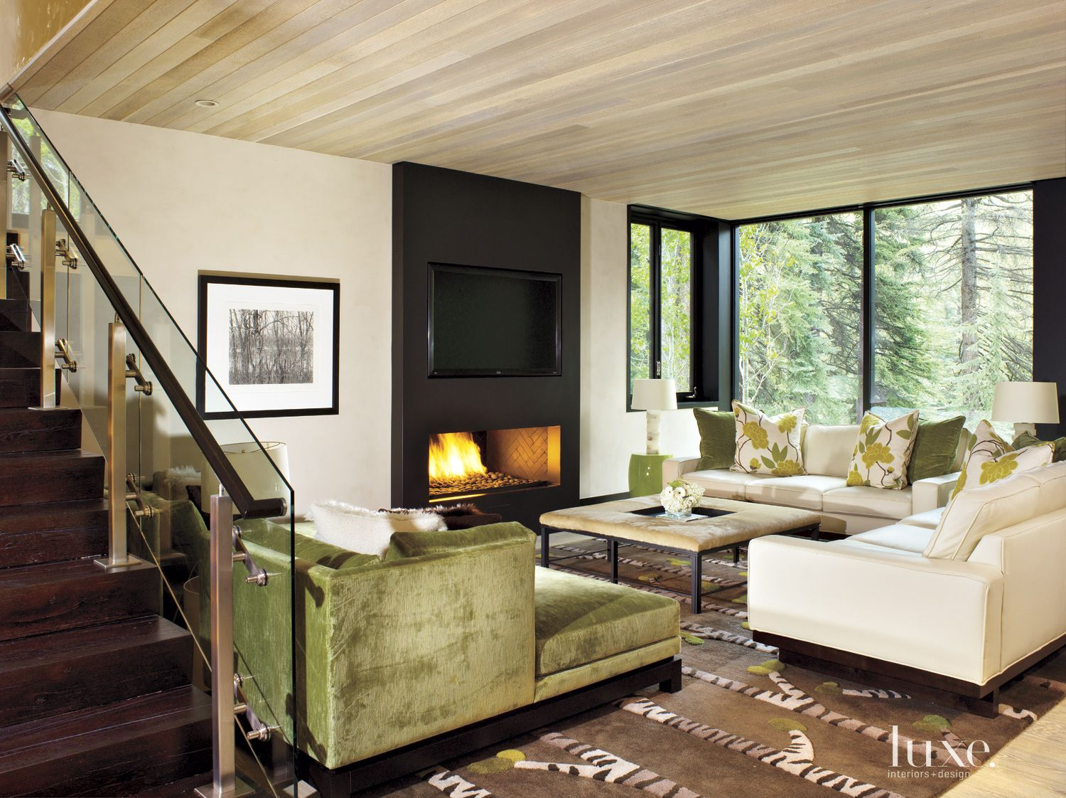 Contemporary Neutral Family Room with Green Sofa