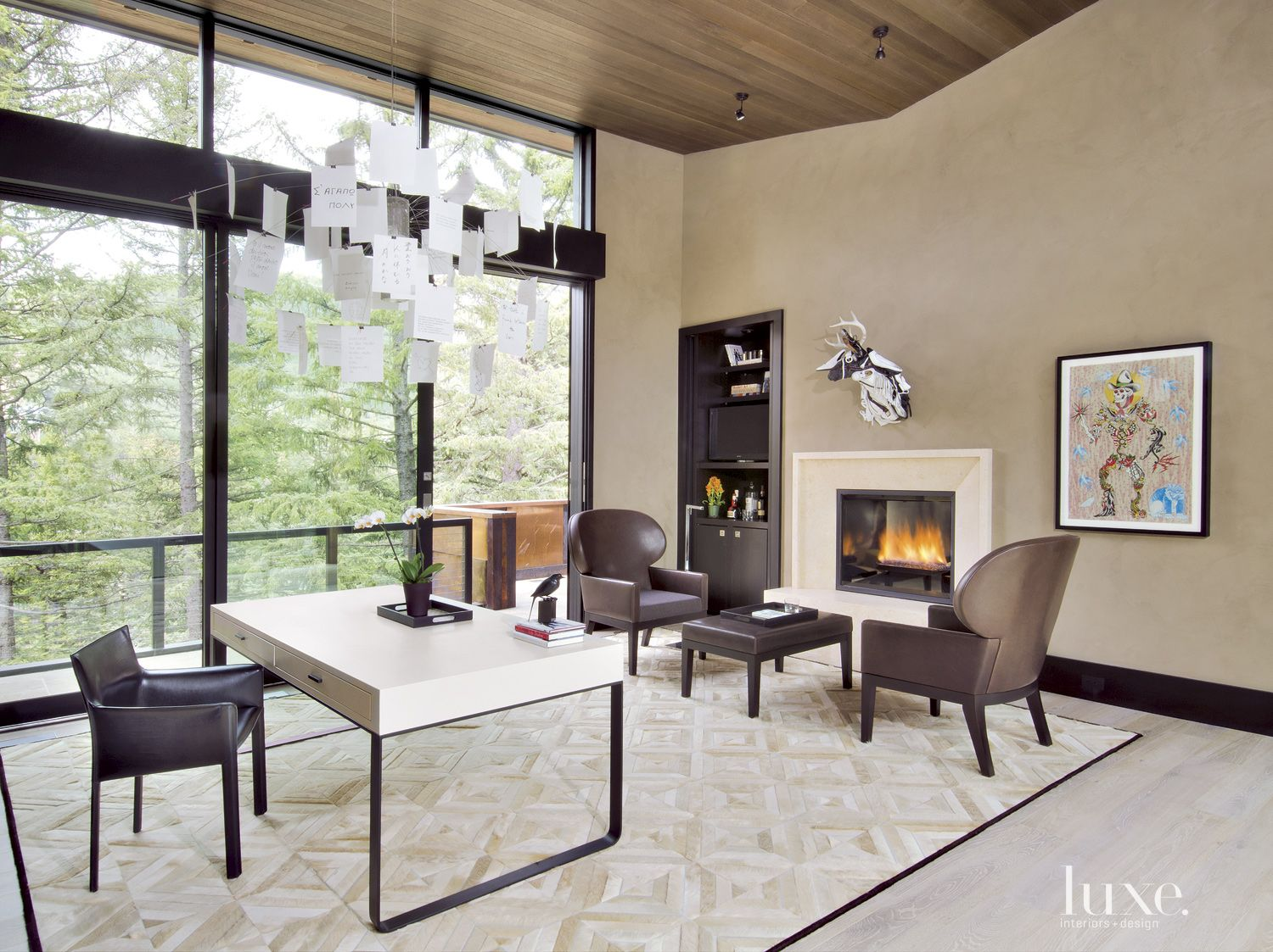 Contemporary Neutral Library with Wing Chairs