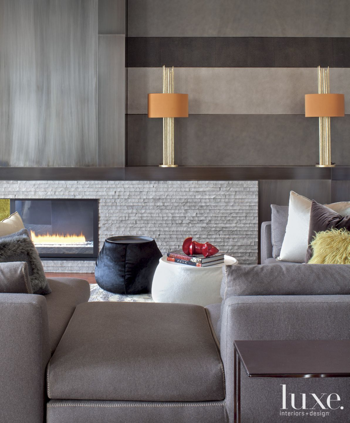 Contemporary Gray Living Room Detail with Fireplace