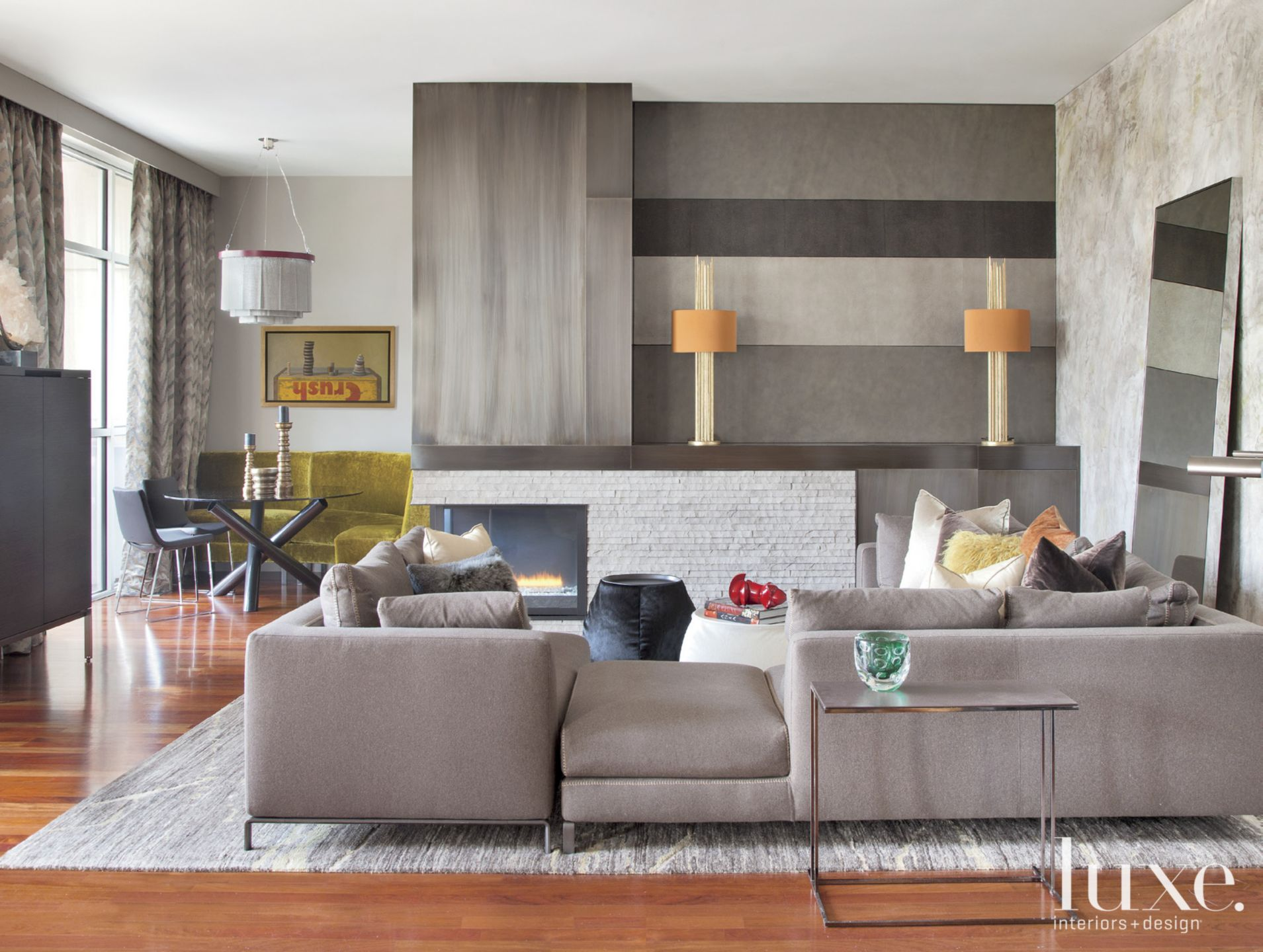 Contemporary Gray Living Room with Sectional Sofa