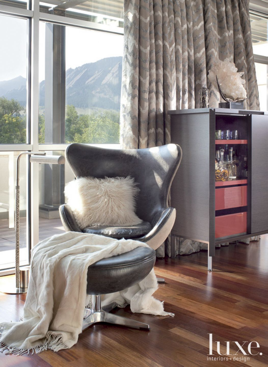 Contemporary Gray Living Room Detail with Wingback Chair