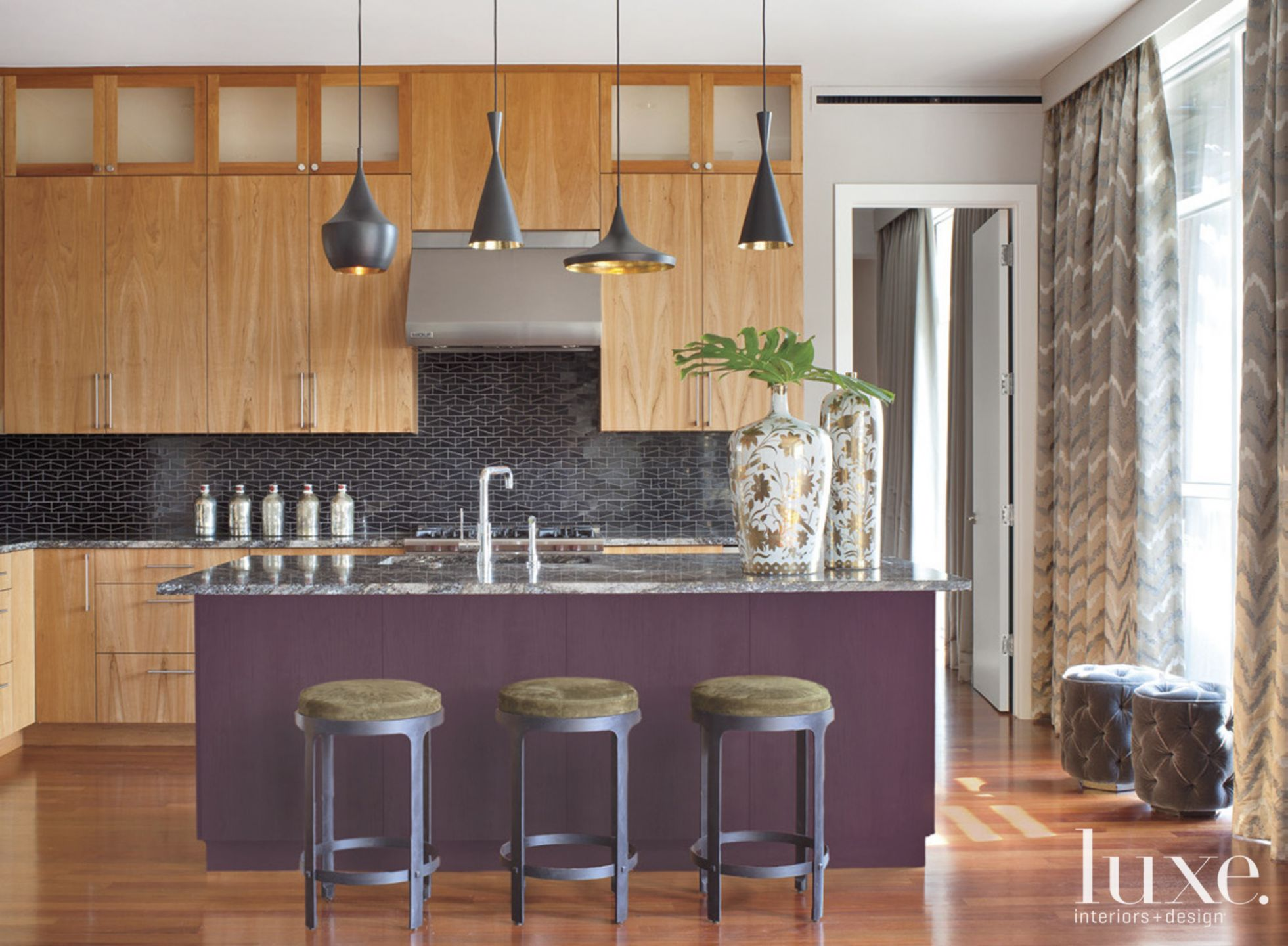 Contemporary Neutral Kitchen with Purple Island
