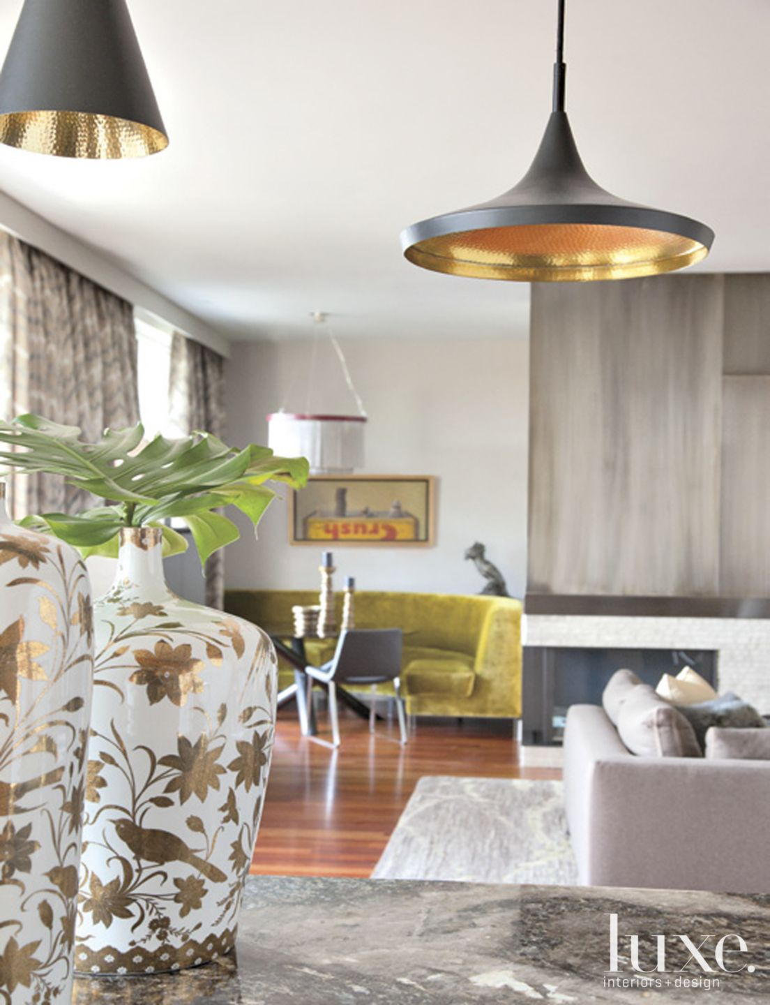 Contemporary Neutral Kitchen Detail with Pendant