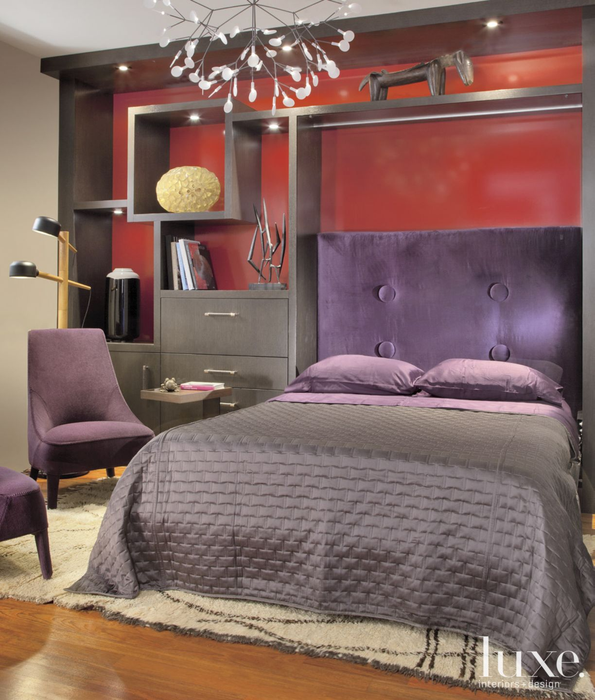 Contemporary Red Bedroom with Purple Accents