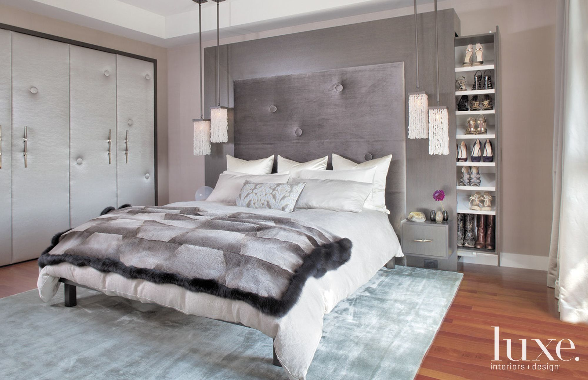 Contemporary Gray Bedroom with Built-In Cabinets