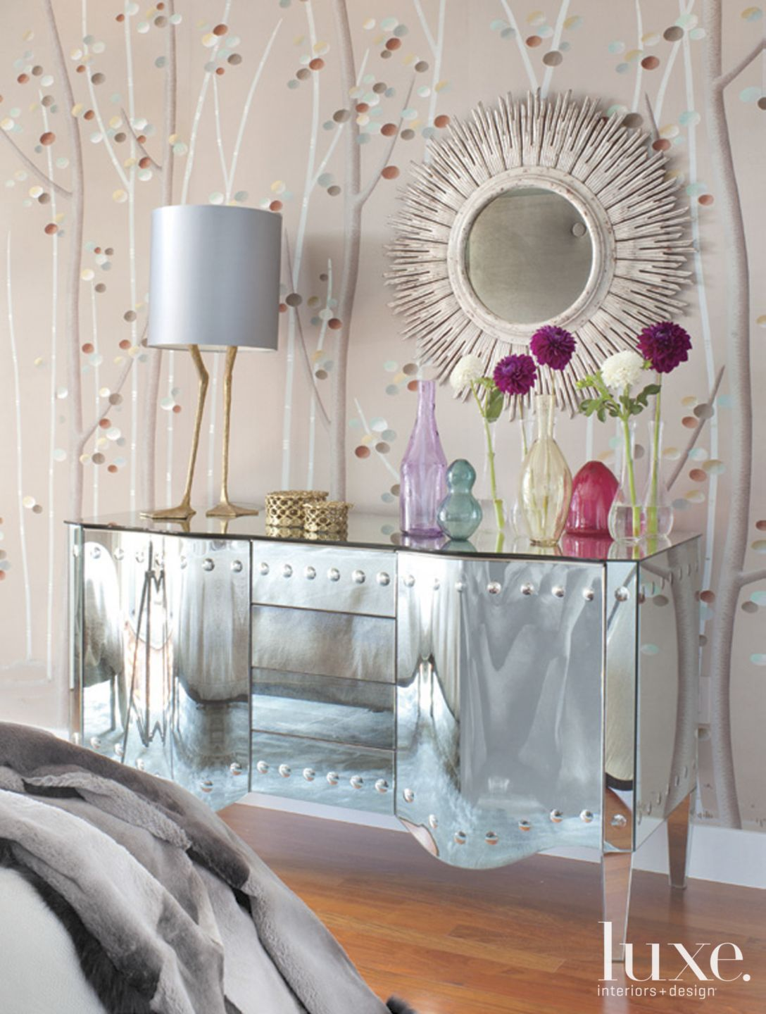 Contemporary Gray Bedroom Detail with Mirrored Cabinet