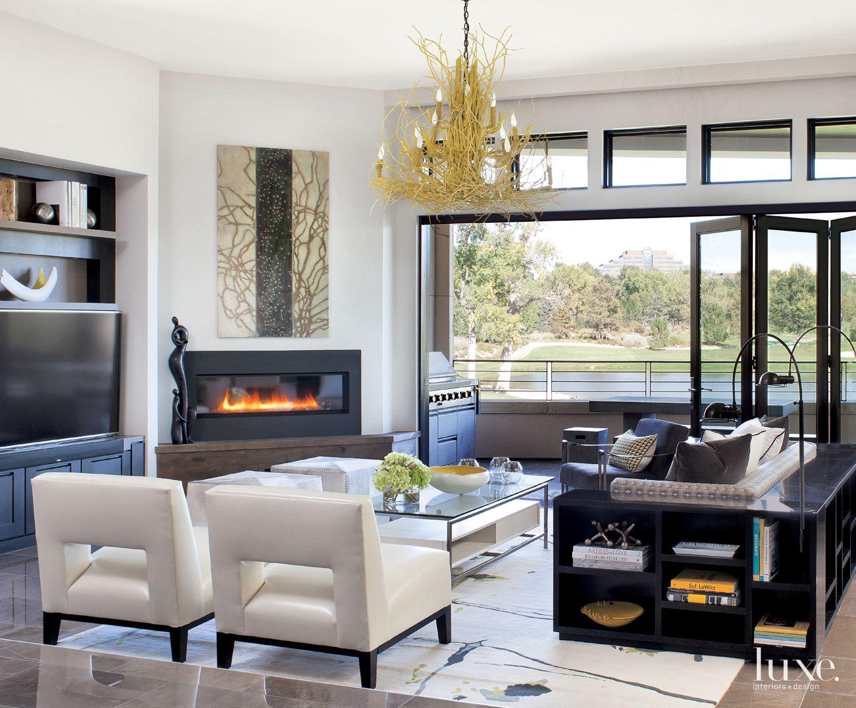 Contemporary White Living Room with Custom Sofa Shelving