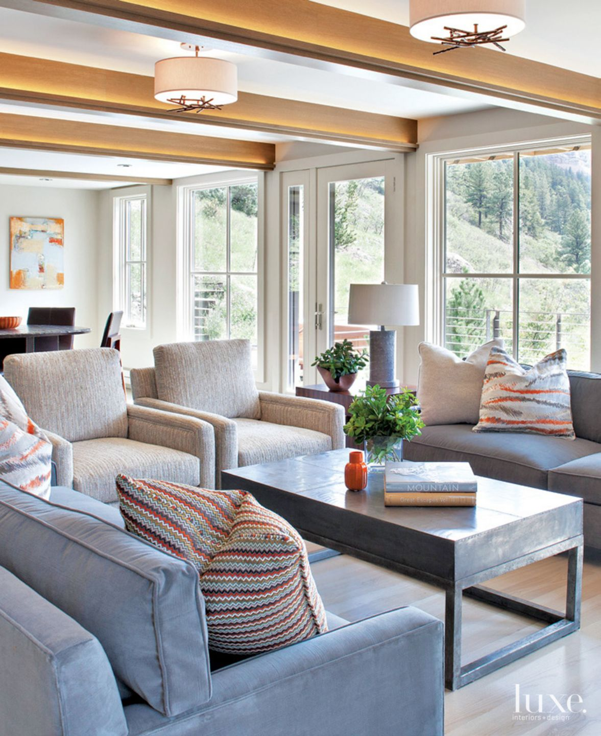Contemporary Neutral Living Room with Tweed Chairs