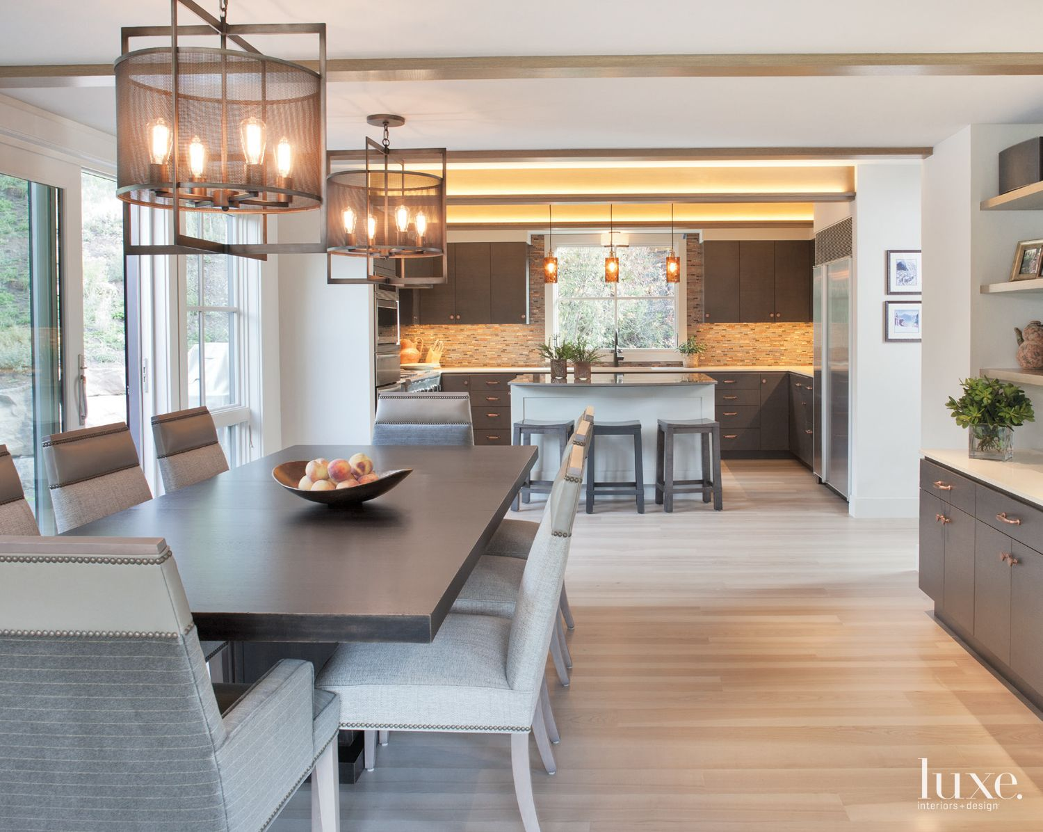 Contemporary Neutral Dining Area with Gray Furnishings