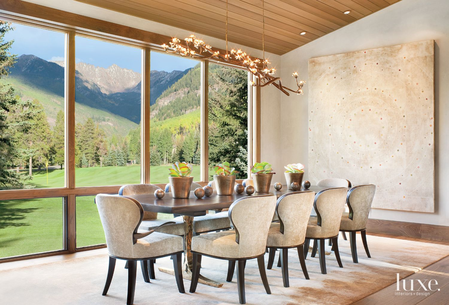 Neutral Mountain Dining Room with Walnut Table