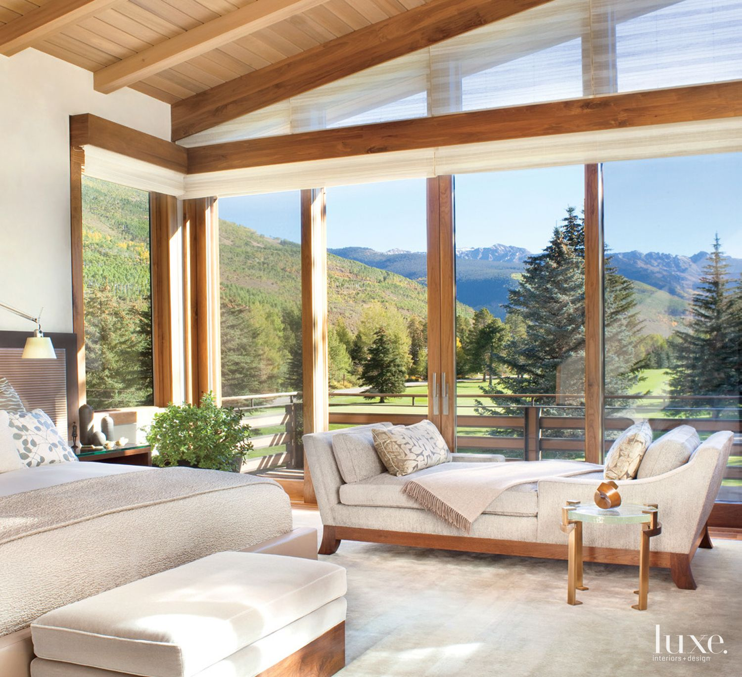 Neutral Mountain Master Bedroom with Chaise Lounge