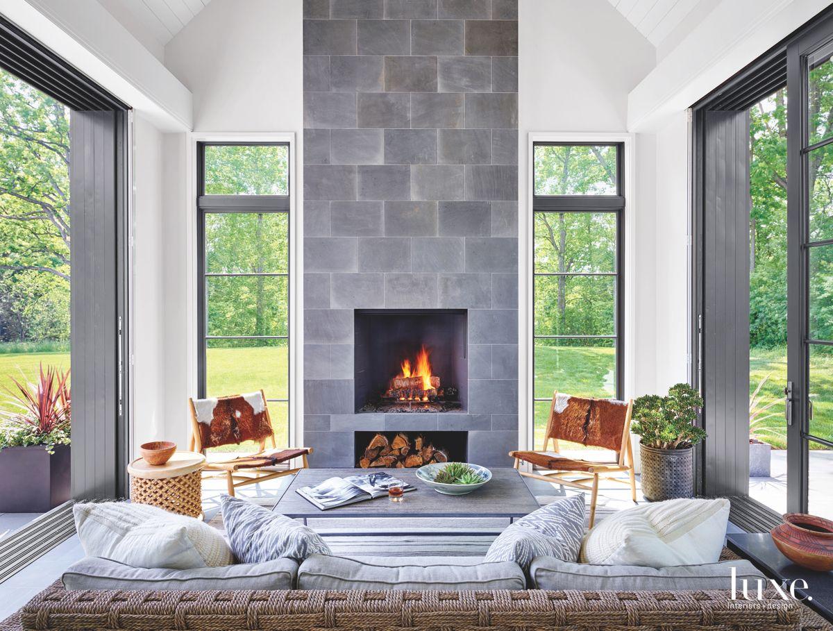 Bluestone Fireplace in Nautical Sunroom