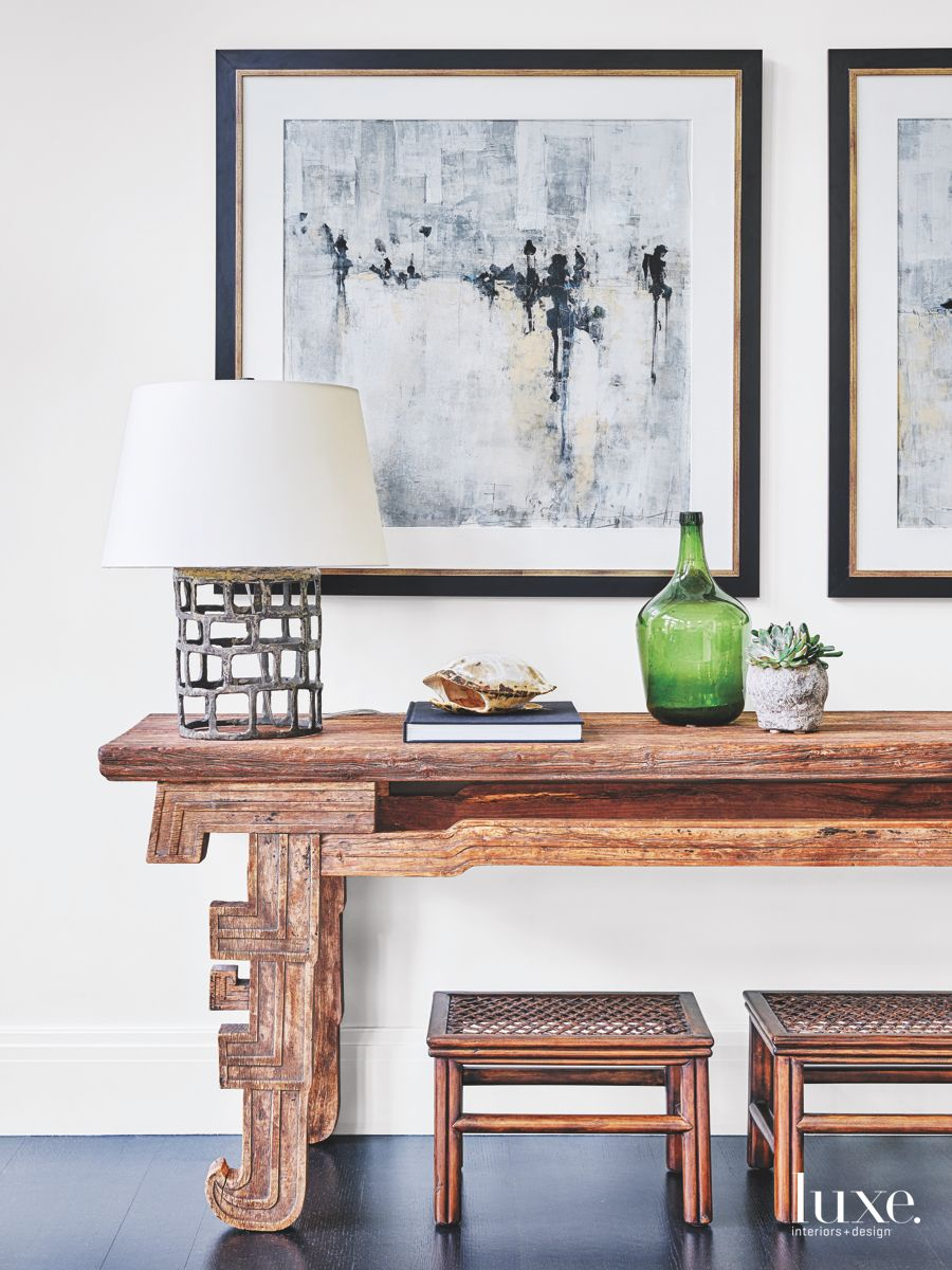 Elm Wood Altar Table with Artwork Family Room