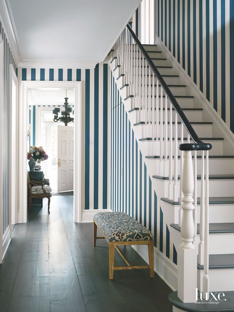 Blue and White Strip Under Stair Cupboard Hallway and Bench