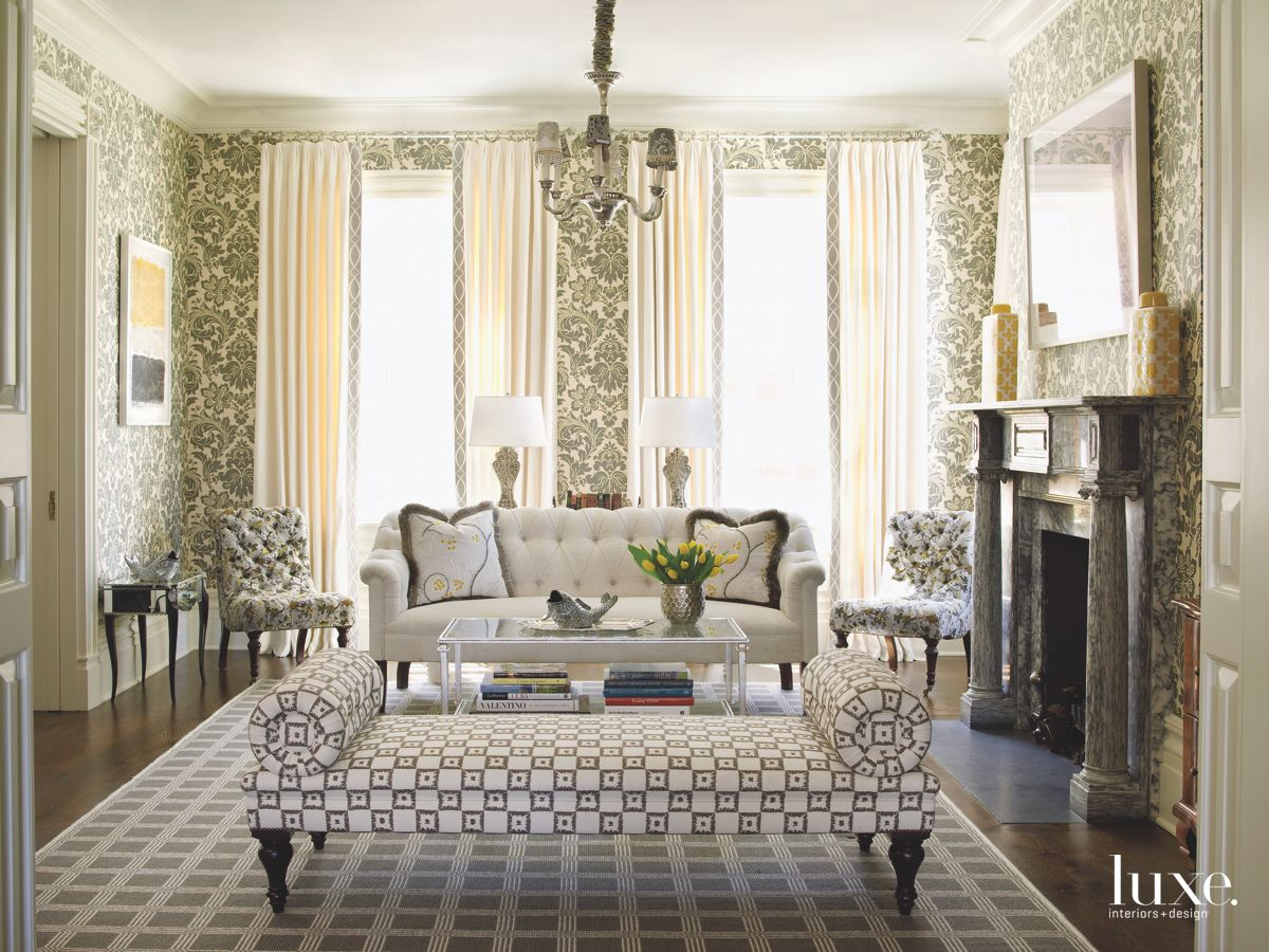 Multi Pattern Traditional Parlor with Bench and Sofa with Fireplace