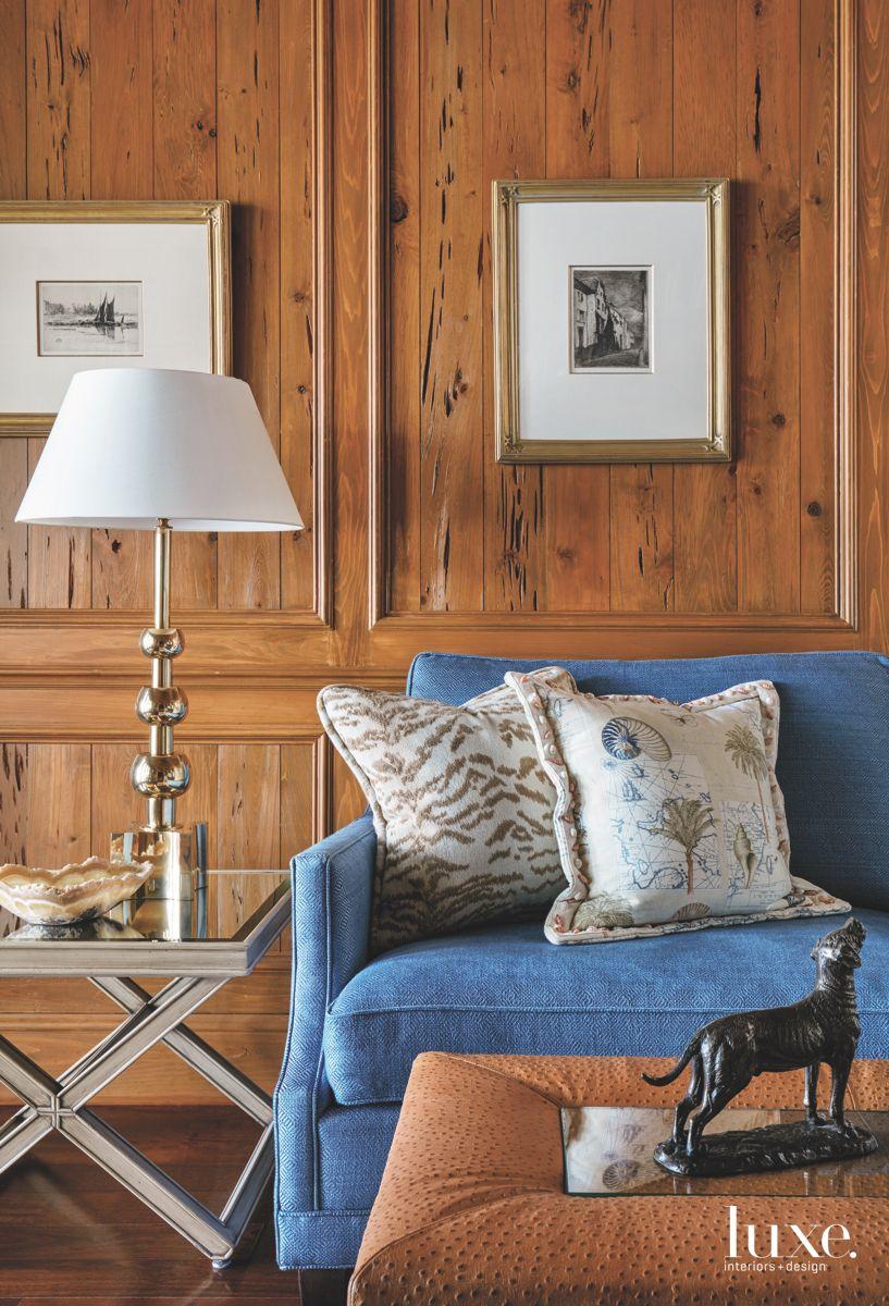 Blue Wooden Kravet Study Detail