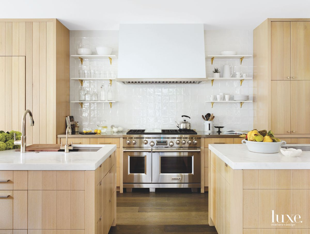 White and Wooden Kitchen with Two Islands