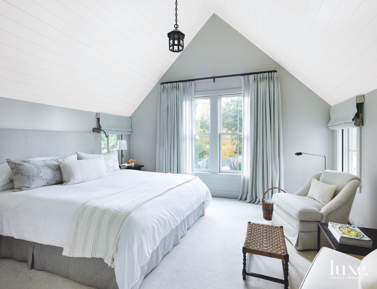 Cool Gray Bedroom with Steep, Vaulted Ceilings
