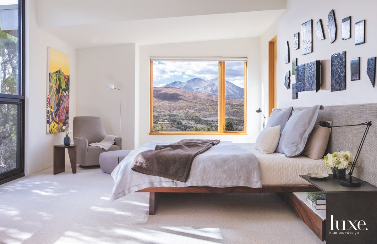 Master Bedroom with Original Wall Decoration and Mountain Views