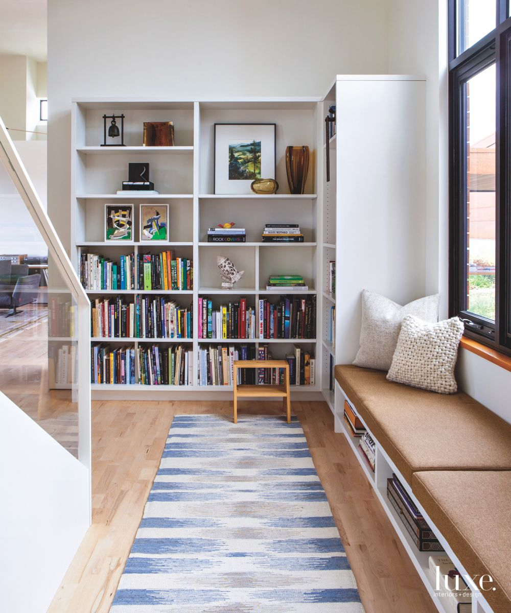 All-White Reading Nook with Handwoven Indian Carpet