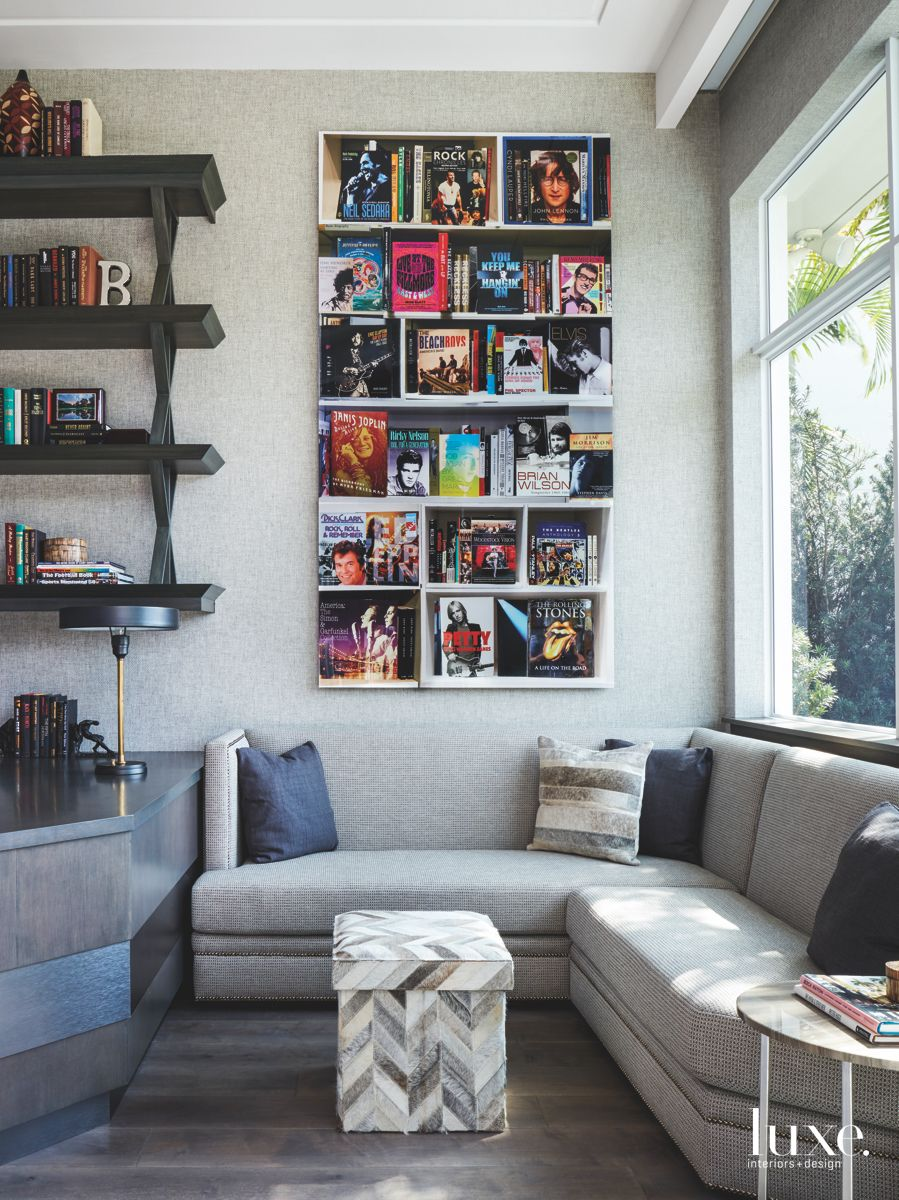 Gray Office With Magazines, Books, and Pops of Color