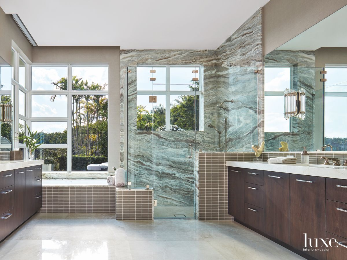 Vein Marble Master Bathroom with Windows