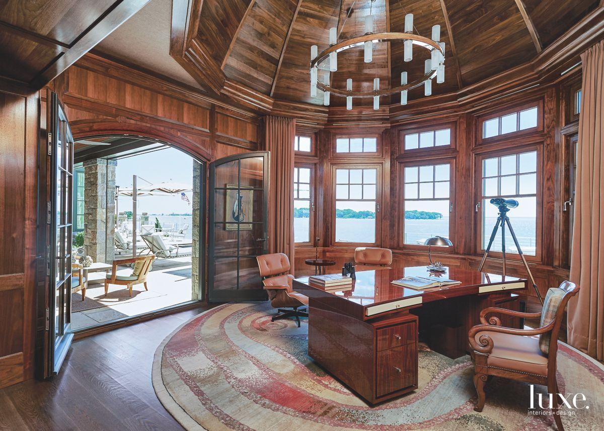 Turreted Office with Dark Wood Paneling