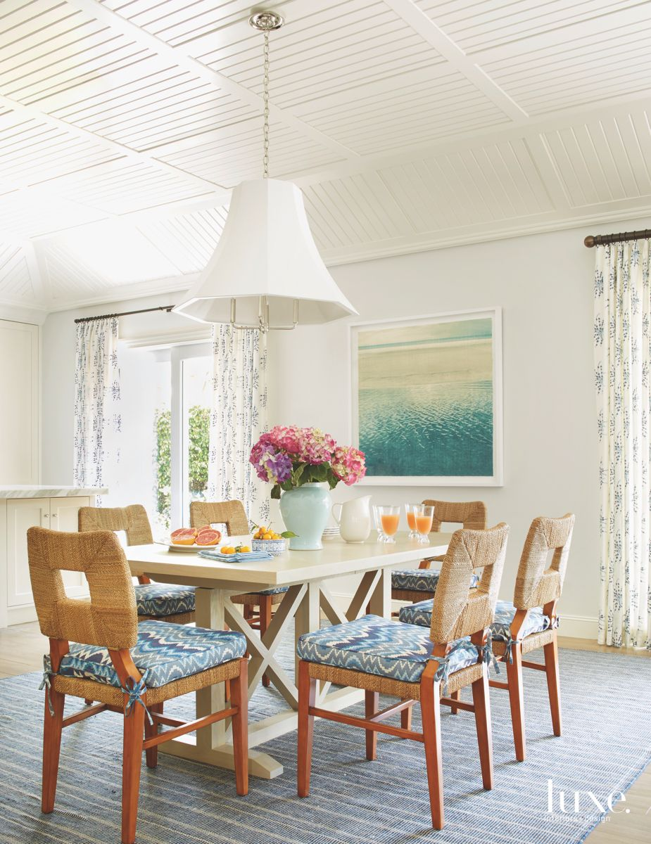 Water Artwork Blue Dining Room with Lampshade Chandelier