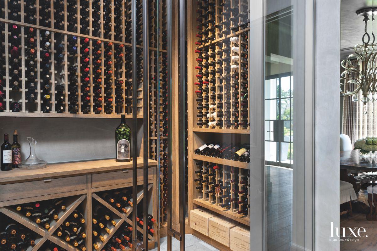Self-Closing Doors in a Custom Wine Cellar