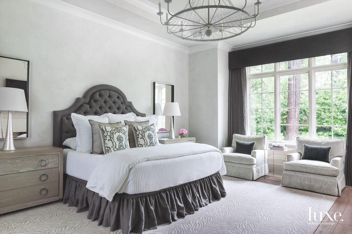 Zebra-Patterned Carpet in Neutral Master Bedroom