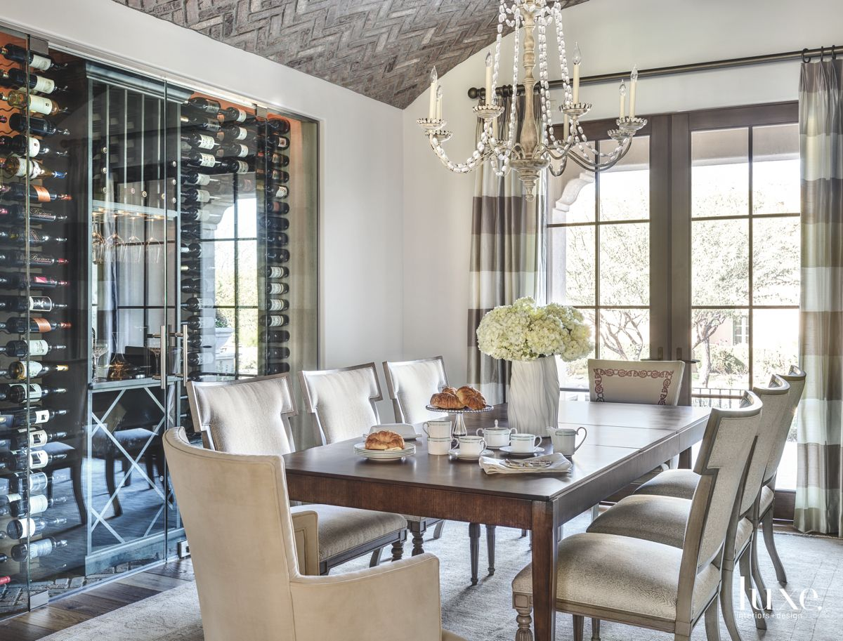 Floor to Ceiling Wine Cooler in the Dining Room