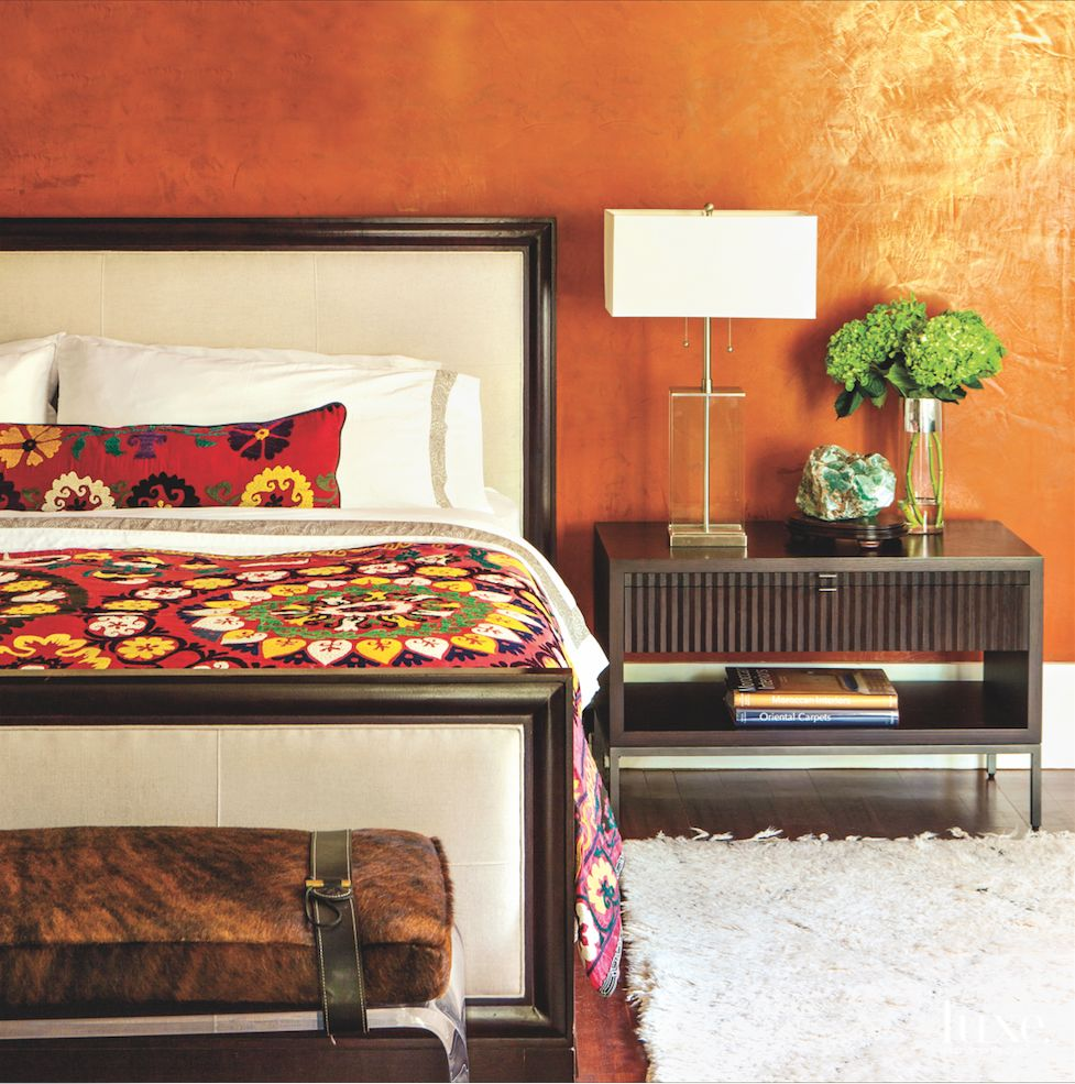 Copper Venetian Master Bedroom with Citrus Color Accents and Lucite Bench