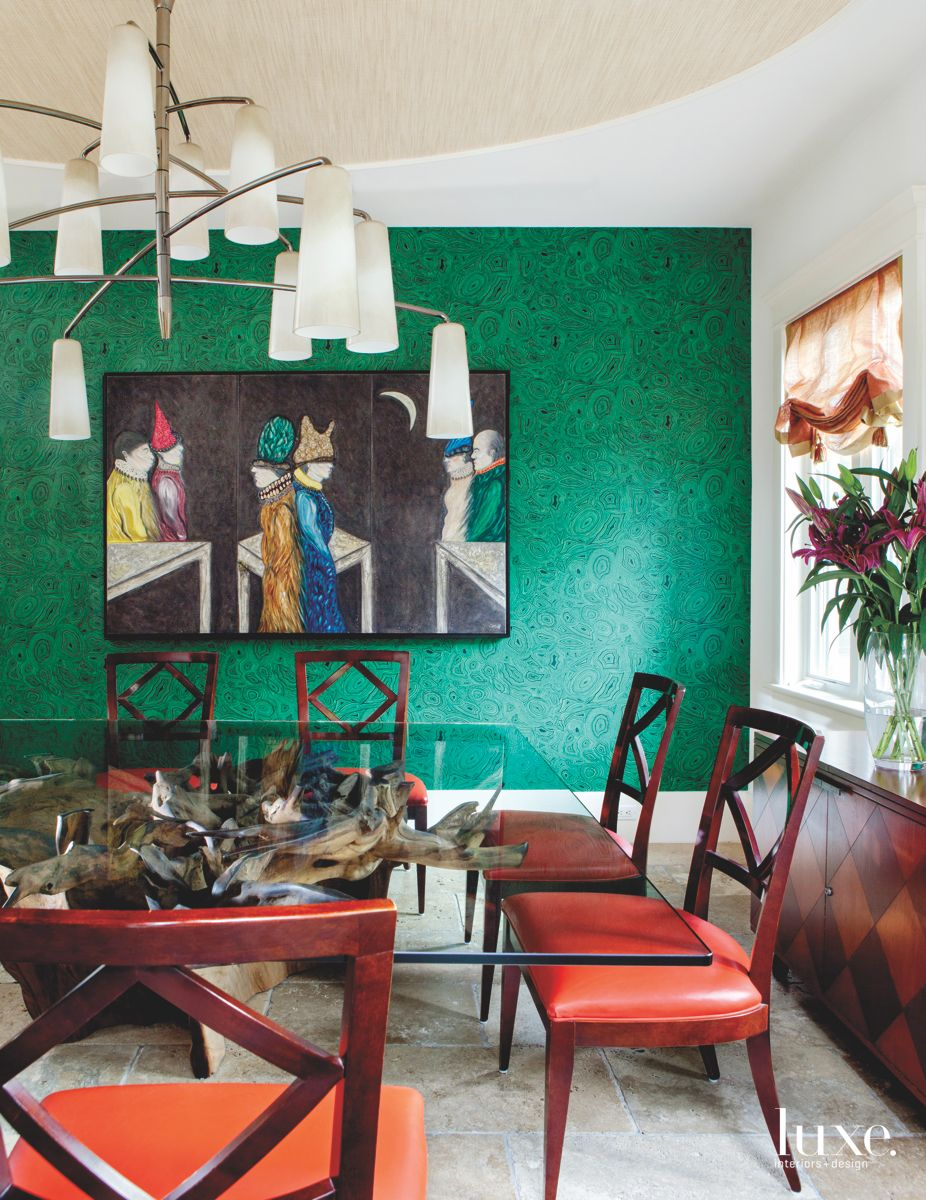 Green Geode Patterned Wallcovering Dining Room with Artwork and Tropical Plants
