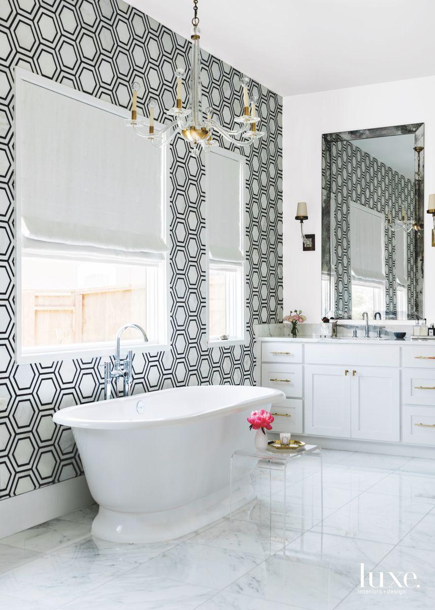 Black and White Hexagonal Tile Master Bathroom