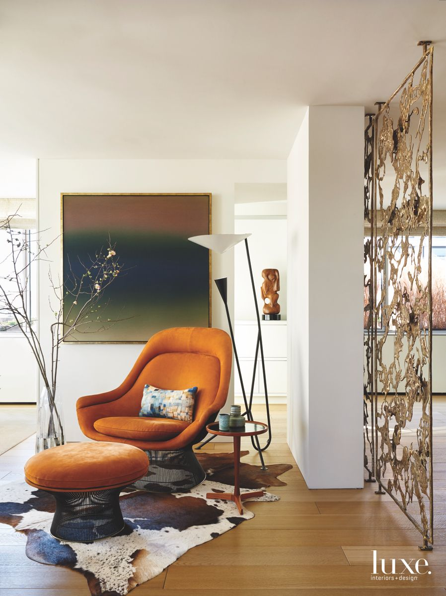 Modern Furniture, Art, Lighting, and Branches Vignette