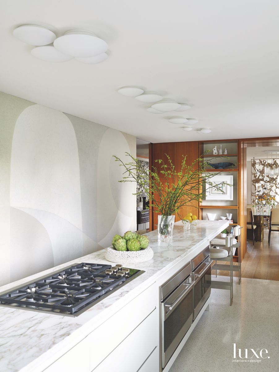Hand-Painted Kitchen White Mural in All-White Manhattan Kitchen