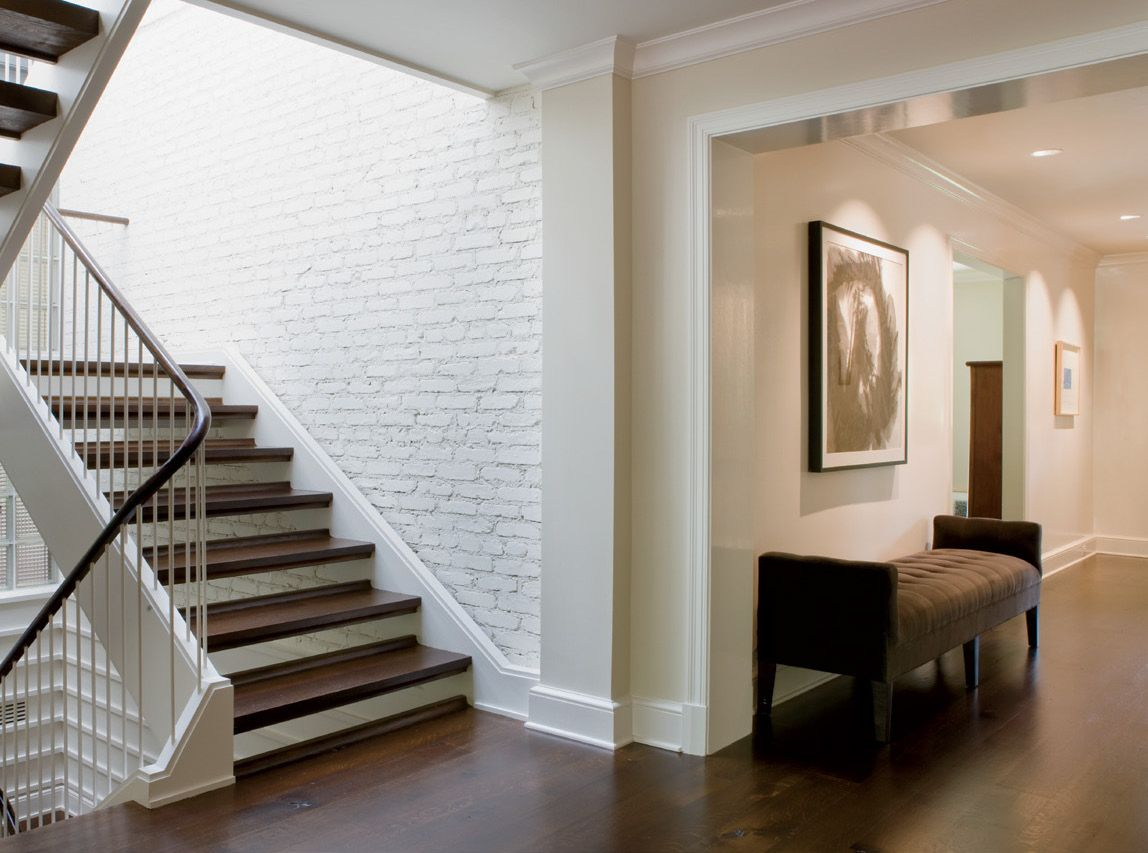 Neutral Contemporary Entry Foyer and Staircase