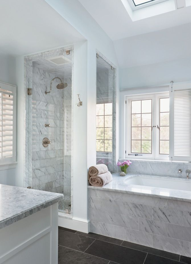 Contemporary Neutral Master Bathroom with Slate Flooring