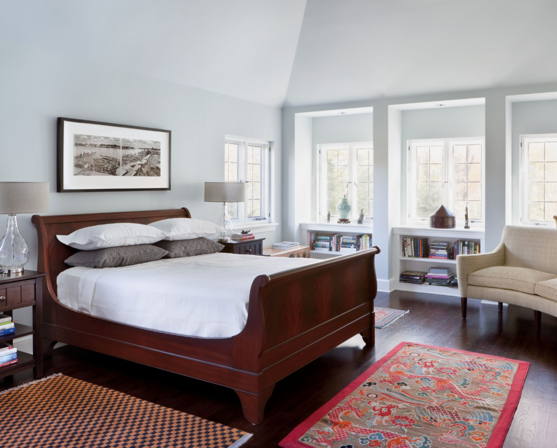 Neutral Contemporary Master Bedroom with Antique Rugs