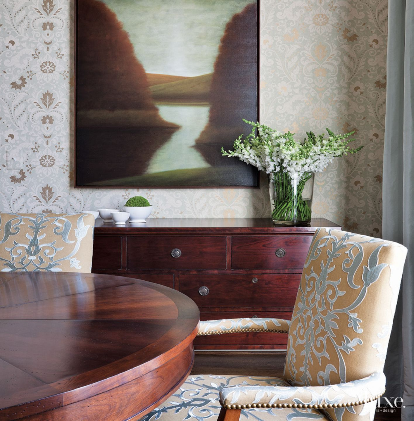 Contemporary Blue-Accented Dining Room Sideboard