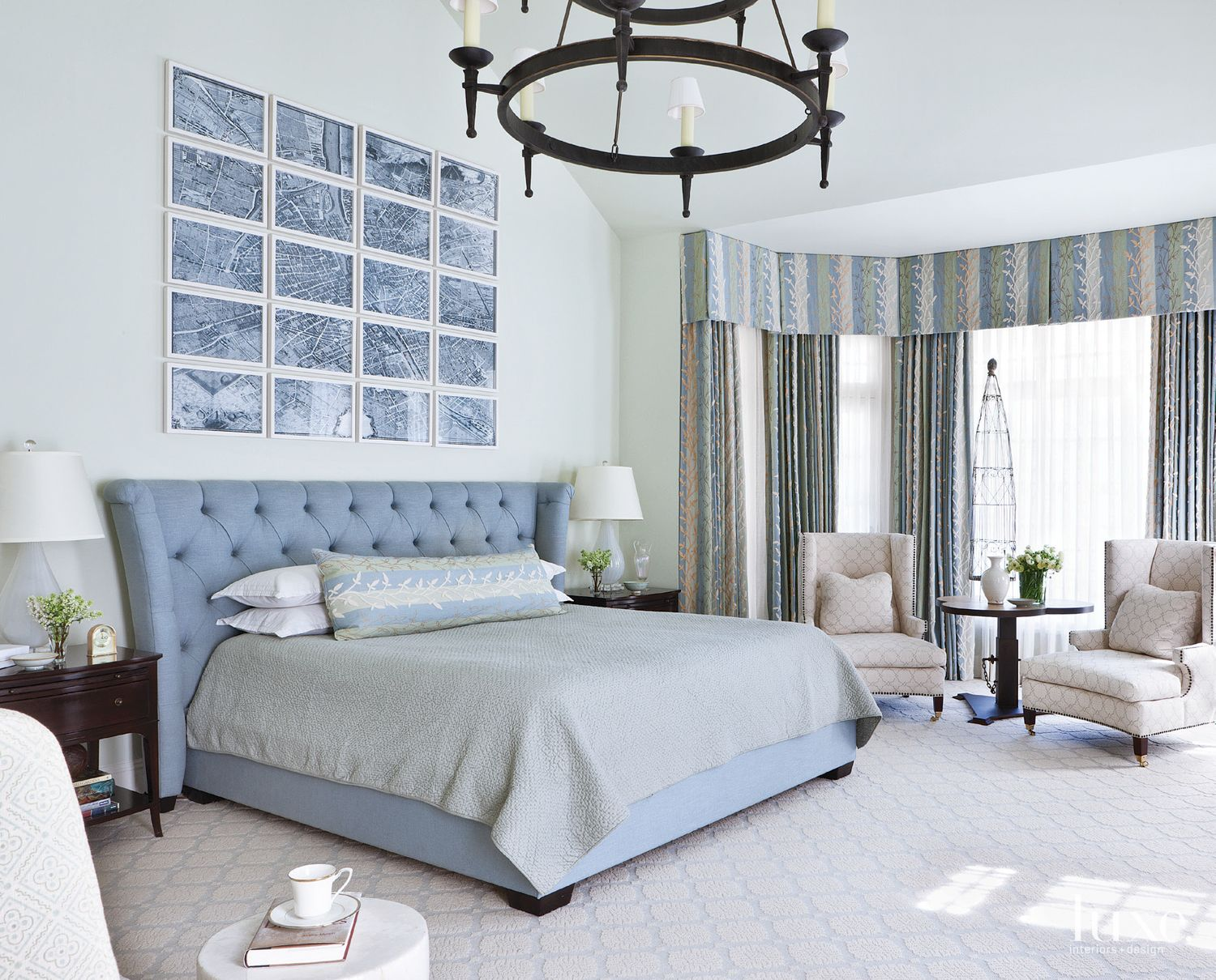 Paris Map Powder Blue Master Bedroom