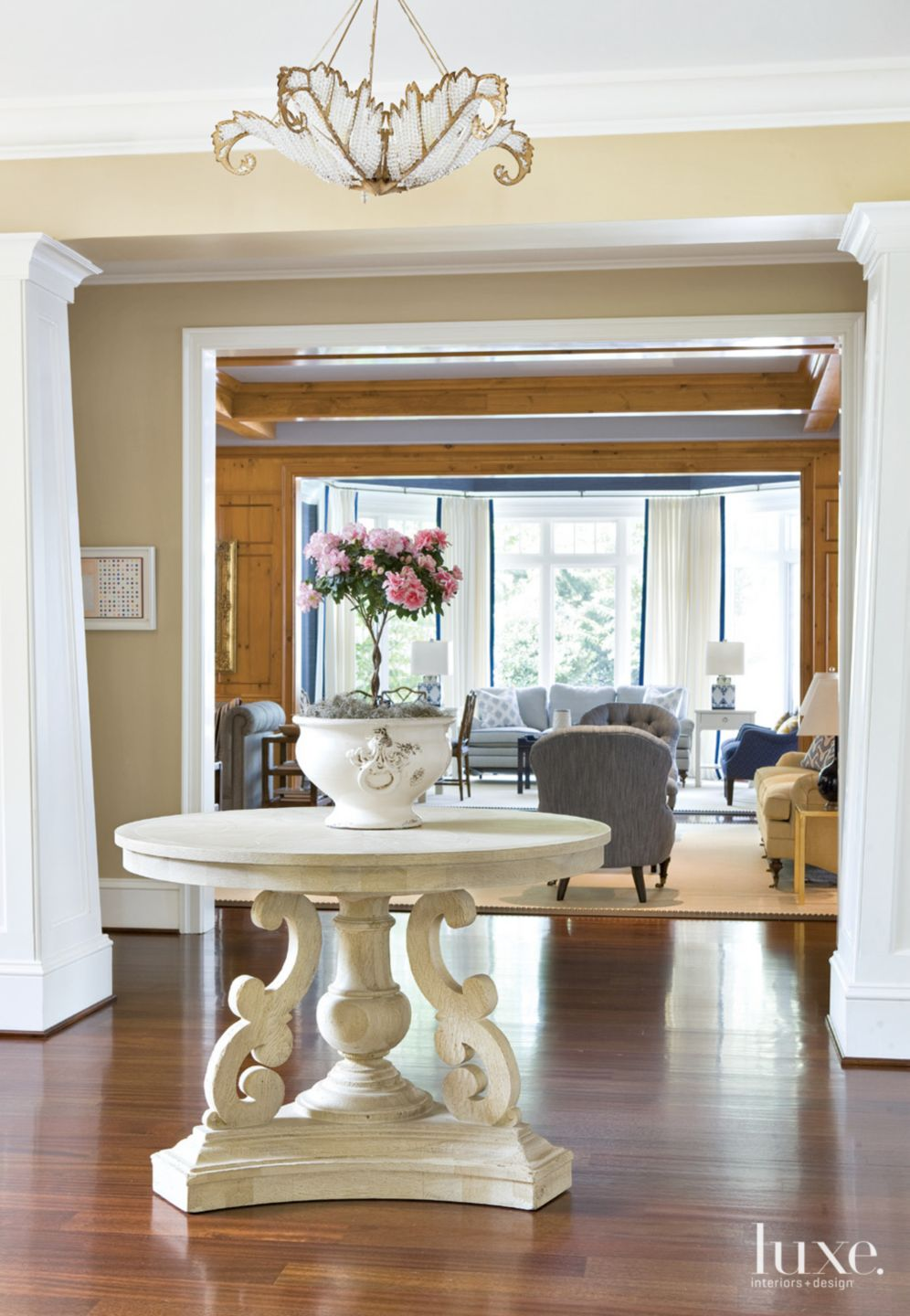 Traditional Cream Entry with Center Hall Table