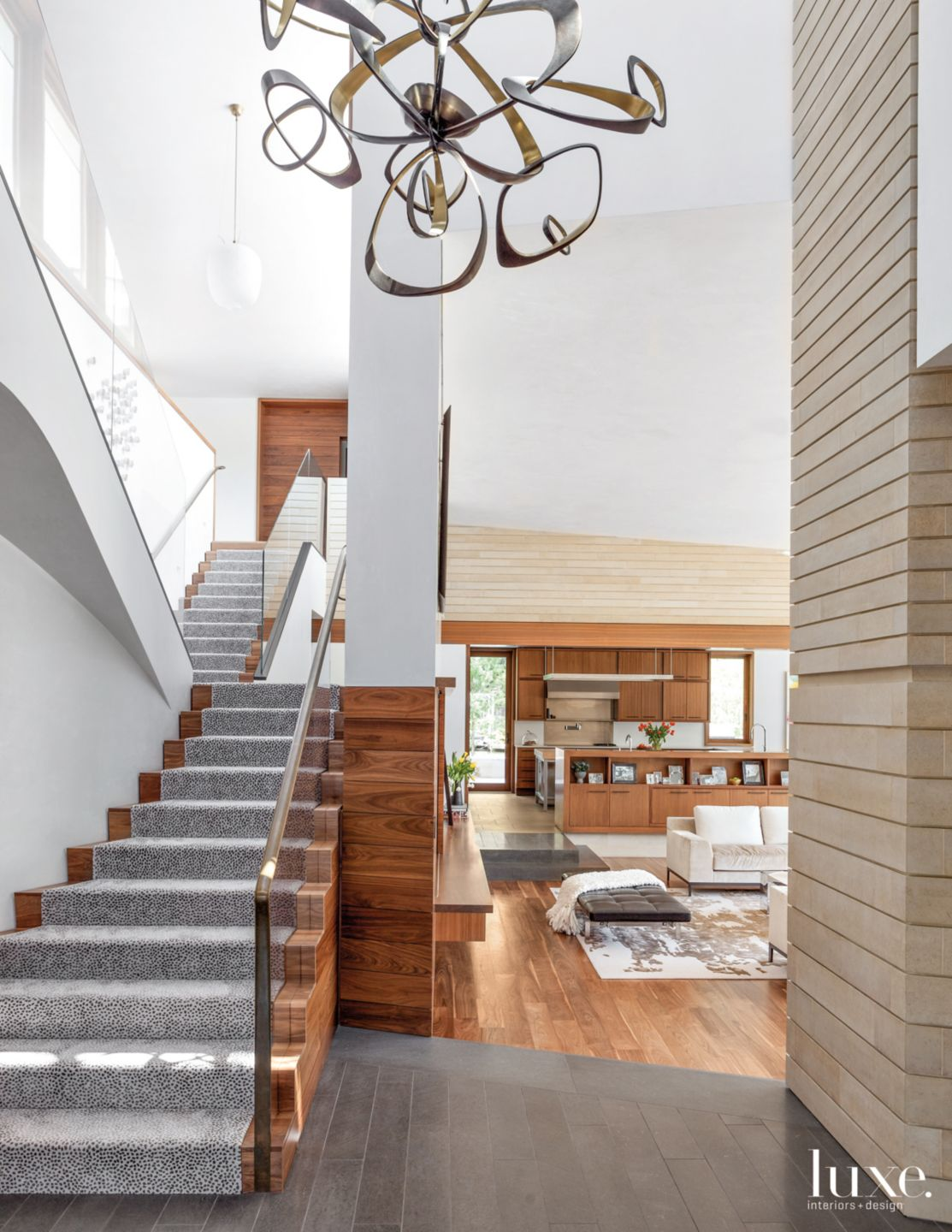Modern Neutral Staircase with Custom Patterned Runner