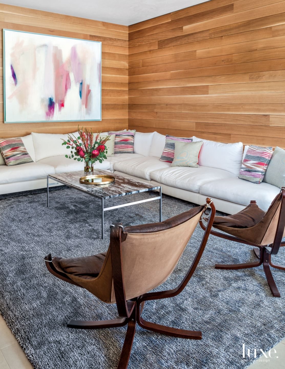 Modern Neutral Game Room with Wood-Paneled Walls