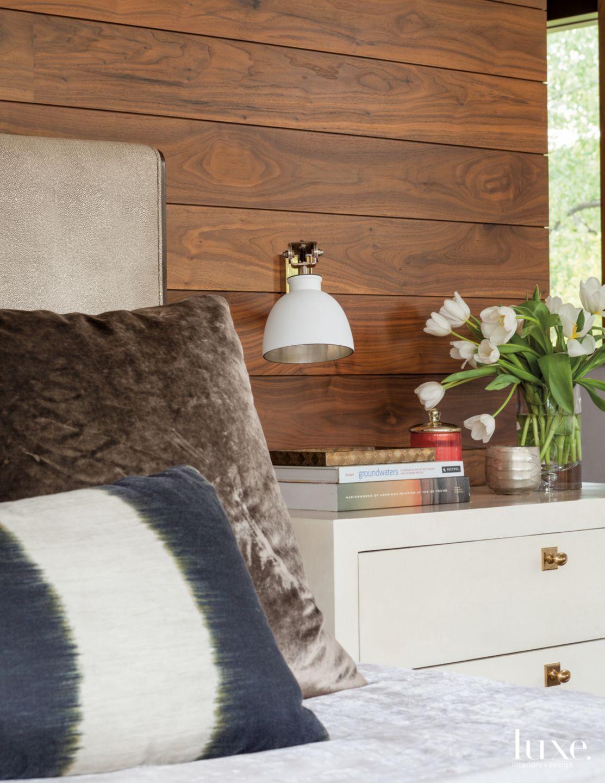 Modern Neutral Bedroom Detail with Vintage Dresser