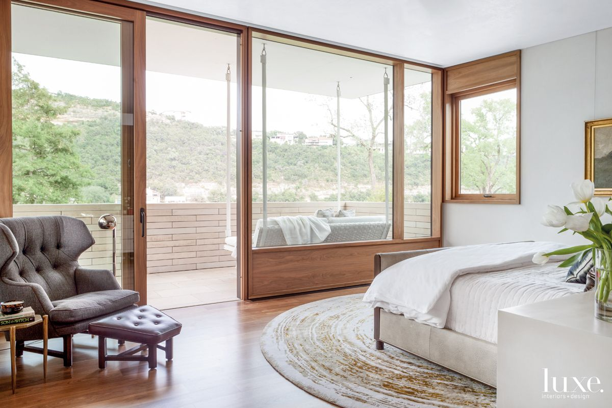 Modern Neutral Bedroom with Hanging Lounger
