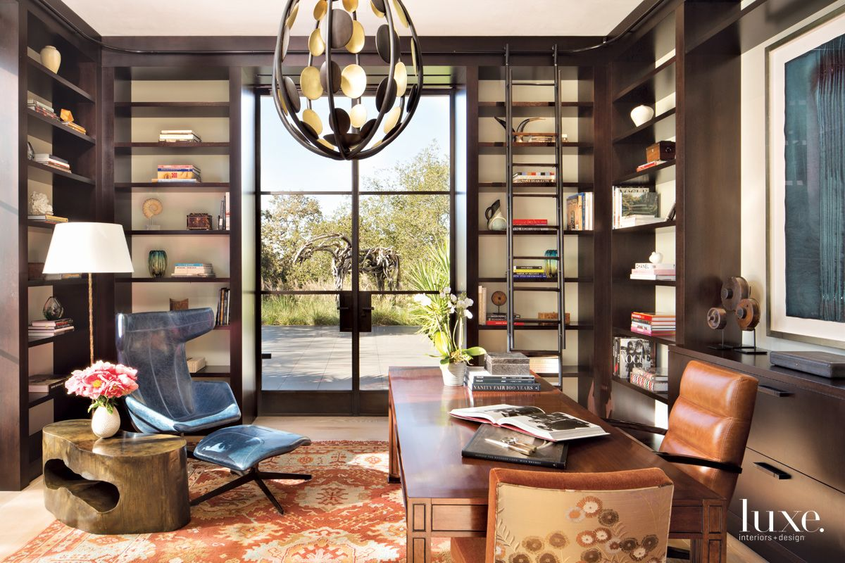 Modern Neutral Library with View of Outdoor Sculpture
