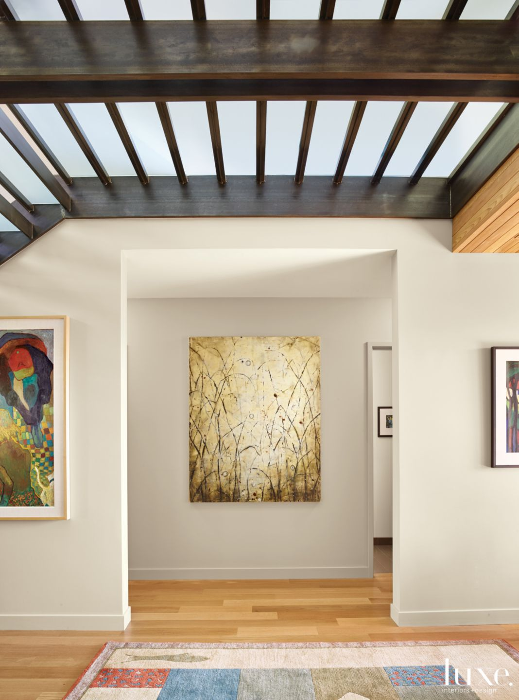 Contemporary Neutral Hall with Painting and White Oak